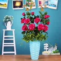ingrosso rose di fiori di nozze artificiali di seta-Commercio all'ingrosso artificiale fiore di rosa simulazione di seta fiori finti ramo singolo 3 teste rose fiore per la decorazione domestica camera da letto di nozze
