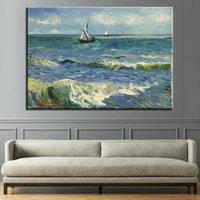 Wholesale sailing ship oil paintings for sale - Group buy Canvas HD Prints Poster Living Room Wall Art Piece Sailing Ship Seascape Paintings Impressionism Pictures Home Decor Framework