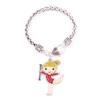 liga de zinco banhada a ródio venda por atacado-Liga de zinco Rhodium cor misturada de cristal Cheerleader Cheer menina pingente pulseira