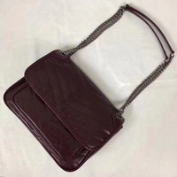 Women leather shoulder bags Real Cow leather soft leather chain 28cm Medium Crossbody large volume multi-pockets
