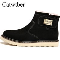 меховые снегоступы для мужчин оптовых-Catwtber Outdoor High Quality 2018 New Men Winter plush Fur Comfortable Boots Snow Boots High Top Ankle  Casual Walking