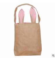 джутовые тотализаторы оптовых-Easter Bunny Ears Bag Funny Design Rabbit Ears Jute Tote Bags Easter DIY Creative Candy Gift Cotton Cloth Bag
