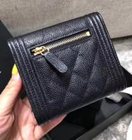 erkek deri şortları toptan satış-Sıcak moda kadınlar lüks siyah kısa cüzdan üç kıvrım Sikke çantalar geniune deri kart tutucu erkek kare kapak cüzdan altın gümüş hardwa