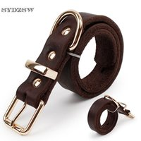 Wholesale german products - SYDZSW Top Grade Leather Dog Collar Pet Leads Alloy Buckle Labrador German Shepherd Dog Collar Lrage Products 2.5*56cm