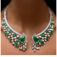 bisutería verde collares al por mayor-Vintage Rhinestone Verde Collar atractivo Chunky Gargantillas para Las Mujeres Collar Llamativo de Cristal Bling Joyería de Vestuario 1 Unid