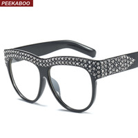 большие очки черные женщины оптовых-Peekaboo rhinestone glasses frame women female clear lens black white 2018  oversized big eyeglasses frame women