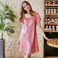 vestido de pijama al por mayor-Señoras pijamas verano rayón hogar dulce diseño corto sueño vestido de desgaste sexy de manga corta camisón