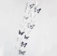 kristal etiket çıkartmaları toptan satış-3D DIY Kristal Kelebek Duvar Sticker Sanat Çıkartması Ev Dekorasyonu Duvar Etiketler Çıkartmaları PVC Dekorasyon için