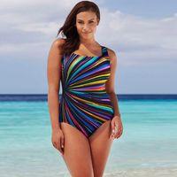 Wholesale hot womens bathing - One Pieces Womens Swimming Costume Padded Colorful Striped Swimsuit Monokini Swimwear Push Up Bikini Sets Bathing Suit 2018 Hot