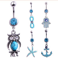 Wholesale gemstone buttons - 6 Style Stainless Steel Fashion Navel For Women Belly Piercing Body Jewelry Lovely Blue Crystal Starfish Dangle Belly Button ring