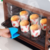 Wholesale oven clip - Kitchen Silicone Heat Resistant Gloves Clips Insulation Non Stick Anti-slip Pot Holder Clip Cooking Baking Oven Mitts Kitchen Tools T1I370