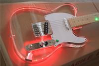 ingrosso kit chitarra elettrica solido-Il corpo della chitarra della tastiera della luce del LED della chitarra elettrica variopinta del plexiglass di TL può cambiare la polvere rossa, gialla, blu e verde
