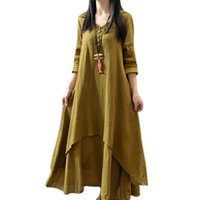 Wholesale flax linen dress l - 2017 fall two dress and put on the false flax cotton skirt loose and long sleeve dress
