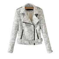 Wholesale women biker jacket faux leather - New 2018 Autumn Camouflage Leather Jacket Women Causal Long Sleeve Slim Turn-down Collar Motorcycle Biker Jacket Jaqueta Couro