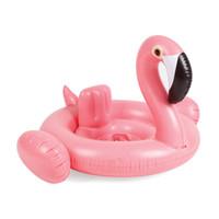 schwimmender flamingo großhandel-Aufblasbares Flamingo-Pool-Spielzeug-Auftriebs-Aufblasbare rosafarbene rosafarbene Auffahrt-Schaumgummiringe der aufblasbaren Flamingo-80CMX70CM schwimmen