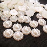 espalda plana perlas artesanias al por mayor-200 unids 13 mm Sun Flower Flat Back Cabochon imitación plástico ABS perlas para DIY joyería hecha a mano artesanía haciendo decoraciones del teléfono