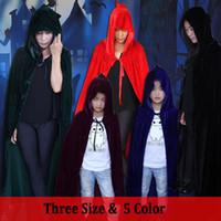 ingrosso reaper cosplay-5 colori Halloween Cosplay Costumi Adulto Bambino Witch Cloak Nero Grim Reaper Robe Masquerade Vampire Cosplay Abbigliamento