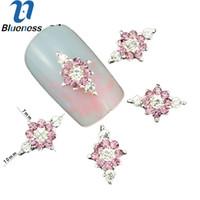 suministro de arte de uñas de joyería al por mayor-10 Unids / lote 3D Pink Jewelry Nail Art Glitter Aleación de Plata Manicura Suministros Crystal Rhinestones Para Nail Art Decorations TN1337