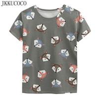 camisa de zorro de las mujeres al por mayor-JKKUCOCO alta calidad Coon camiseta Fox Print Casual camiseta mujer camiseta de manga corta camisetas de verano más nuevas mujeres Tops tee 3 color