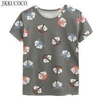 фотографии оптовых-JKKUCOCO High quality Coon T-shirt  Print Casual t shirt Women Shirt Short Sleeve Summer tees Newest Women Tops tee 3 Color