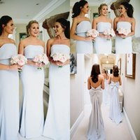 Wholesale silver strapless bridesmaid dresses for sale - Group buy 2019 Strapless Satin Mermaid Long Bridesmaid Dresses Ruched Bow Sash Sweep Train Wedding Guest Party Maid Of Honor Dresses BM0338