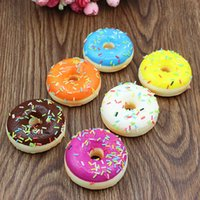 Wholesale Food Christmas Gift - 5CM simulations bread pendants round cream colorful candy squishy donuts children creative food toy PU pendant kids gift R2435