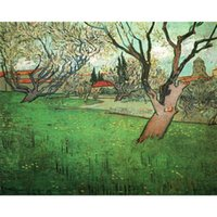 Wholesale canvas art oil painting blossom for sale - Group buy Wall Art Oil Painting View of Arles with Trees in Blossom famous Vincent Van Gogh artwork on Canvas Hand painted