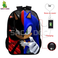 Wholesale Girls Jack - Anime Sonic Split Backpack USB Charging Headphone Jack Laptop Bags for Teenagers Boys Girls Multifunction Cosplay Schoolbags