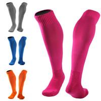 Wholesale grey over knee socks - Sports Sockings For Women Men Long Tube Sock Over Knee Thicken Towel bottom Adult Soccer Socks Anti-Skid 10 Styles Wholesale Free DHL G466Q