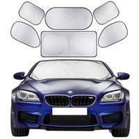 yan araba güneşi toptan satış-6 adet / takım Araba Güneş Gölge Ekran Tam Araba Ön Yan Arka Pencere Güneşlik Perde Cam Shades Visor Kapak Güneş Bloğu