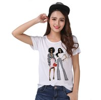 Wholesale women s clothing models - Track Ship+New Fresh Hot Vintage Retro T-shirt Top Tee Two Super Model Girl Show You New Arrival Clothes 1435
