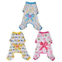 Wholesale large jumpsuit - Pet Dog Clothes Pajamas Coat Jumpsuit with Ribbon Small Pet Dog Floral Shirt Puppy Pajamas Pet Clothes Apparel