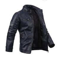chaqueta con cremallera de piel sintética al por mayor-Chaqueta motera de moto de cuero sintético con múltiples bolsillos y cremallera delgada para hombre Cool