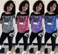 Wholesale Baseball Crop Top - VS Love PINK Tracksuit Sets Short Sleeve Crop Tops Pullover T shirt+Long Pants Sets Pink Letter Yoga Suit Fitness Running Outfits Sweatsuit