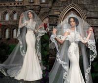 Wholesale fingertip veils online - 2018 Elegant Bridal Veils Lace Appliqued m Long One Layer Cathedral Length Voiles de mariage Customized High Quality wedding veils