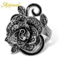 grandes anéis de strass para mulheres venda por atacado-Ajojewel # 7-9 Black Rose Flor Big Vintage Anéis Para As Mulheres Único Retro Cristal Rhinestone Jóias Presente de Luxo