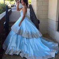 vestido formal sin tirantes plateado al por mayor-Sin tirantes de lujo Sky Blue vestido de fiesta Vestidos de fiesta de plata Apliques de encaje falda gradas Vestido de noche Ropa formal