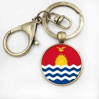 Wholesale Vintage Car Glass - Kiribati Flag Glass Pendant Art Bag Key Chain Vintage Women Handbag Keychain Car Key Ring Jewellery