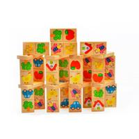 montessori hayvan oyuncağı toptan satış-Tuğla Oyuncaklar 28 ADET Hayvan Renkli Domino Ahşap Bulmaca Karikatür Montessori Eğitici Bebek Oyuncakları Sevimli Doğum Günü Hediyeleri Çocuk Oyunları