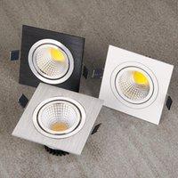 ingrosso luce quadrata del soffitto-Faretto da incasso quadrato bianco lucido Faretto da incasso a luce LED nero dimmerabile COB 7W 9W Faretto da soffitto a luce spot da 12W a LED