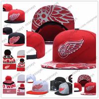 sombrero de alas negras al por mayor-Detroit Red Wings Gorros de punto de hockey sobre hielo Bordado Sombrero ajustable Gorros Snapback bordados Negro Rojo Blanco Sombreros cosidos Un tamaño