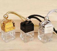 Wholesale car aroma bottle online - Cube Car Perfume Bottle Car Hanging Perfume Rearview Ornament Air Freshener For Essential Oils Diffuser Fragrance Empty Glass Bottle ML