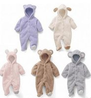Wholesale Bear Warmer - Newborn baby climbing romper suits coverall animal style thick warm padded clothes baby cute bear with foot romper