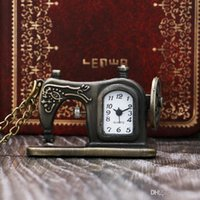 sewing machine necklace 2018 - Pocket Watch Necklace Pendant With Chain Antique Bronze Unique Sewing Machine Door Dial Xmas Clock Desk Men Womens Gift