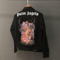 Wholesale buttons horses resale online - 2018aw Palm Angels Denim Jacket Back Horse Print Denim Jacket High Quality Men And Women Black Fashion Jacket HFBYJK167