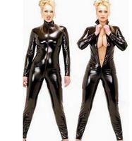 traje de cuerpo vestido sexy al por mayor-2016 Hot Sexy Black Catwomen Jumpsuit PVC Spandex Látex Disfraces de Catsuit para Las Mujeres Trajes de Cuerpo Fetish Leather Dress Plus Size XXL