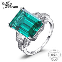 Wholesale emerald 925 silver rings - wholesale Luxury 5.9ct Created Green Emeralds Cocktail Ring Pure 925 Sterling Silver Engagement Vintage Jewelry