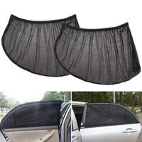 mesh window covers NZ - 2 Pcs Mesh Fabric Auto Sun Visor Shade Cover Shield UV Protector Black Sunshade Curtain Car Rear Side Window Sun Shade