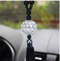 spiegelbehänge großhandel-Neue Auto Anhänger Rückspiegel Hängende Verzierung Buddha Perlen Kristallkugel Glücksbringer Anhänger Behänge Auto Innendekoration
