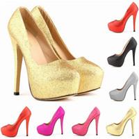 Wholesale glitter platform wedding shoes - Sexy Women Pumps Ultra High Heels Glitter Gold Shoes 14cm Platform Round Toe Ladies Wedding Party Shoes US4-11 D0232